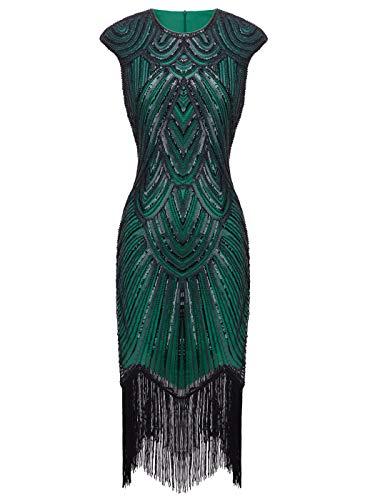 FAIRY COUPLE 1920 Pailletten verschönert Quasten Falten Flapper Kleid D20S002(S,Grün Schwarz) (Pailletten Flapper Kleid Kostüm)