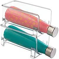 mDesign botellero - Botellero vino para guardar botellas de vino o botellas de agua - Botellero apilable ideal para armarios de cocina y encimeras - Set de 2 unidades en color transparente