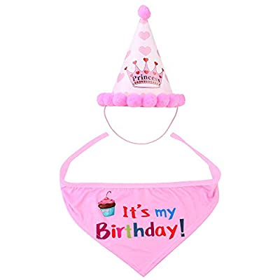 UPSTONE Dog Happy Birthday Bandana Scarfs and Cute Party Hat for Girls Boys,Soft Scarf & Adorable Hat for Party Accessory,Pet Birthday Gift Decorations Set (Blue) from UPSTONE
