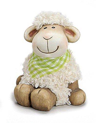 Deko Figur Lamm Schäfchen Schaf mit Halstuch grün sitzend 14 cm groß aus Ton braun und Kunstfaser weiß, Schaf Lämmchen Wohndeko (Keramik Figur Bemalte)