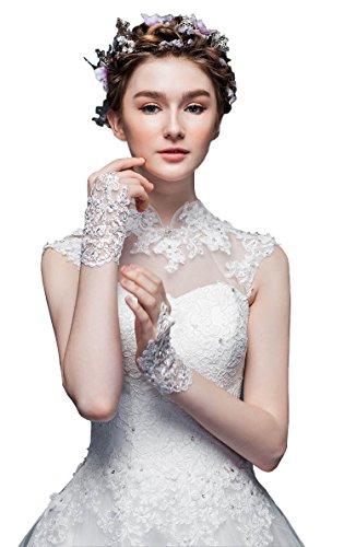 ShineGown Kurze Braut Handschuhe Blumen Spitze Haken Fingerlose Hochzeitszubehör für Damen (Elfenbein Spitzen Handschuhe)