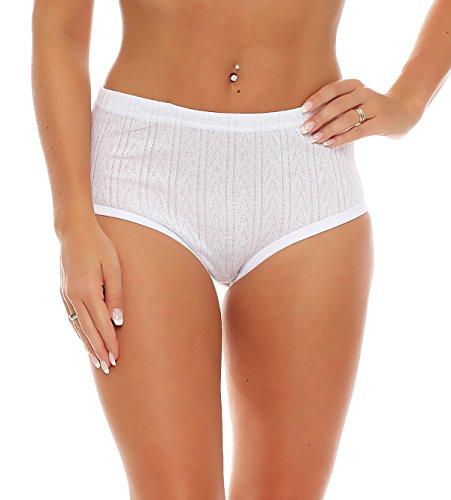 4er Pack Damen Slips aus Baumwolle (weiß / geblümt) Nr. 420 ( Modell 2 (Jaquard)