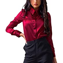 seta Rosso camicia donna it Amazon qnRFHwxBH