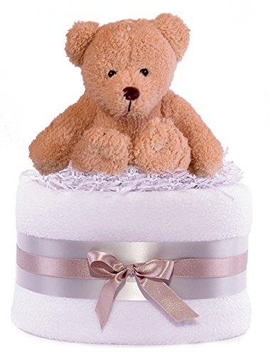 Purenappycakes - orsacchiotto per torta di pannolini, per nascita bambino/a (unisex), decorato con fiocco, colori:argento/grigio/bianco