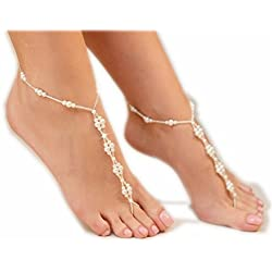 Faux perla sposa spiaggia a piedi nudi gioielli cavigliera per Sandali