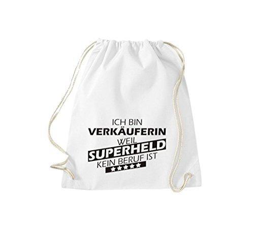 Shirtstown Borse palestra Ich bin Assistente negozio, weil Super eroe niente Occupazione è - Viola, 37 cm x 46 cm bianco