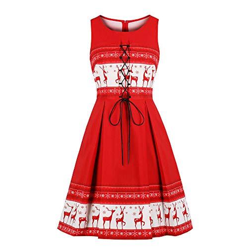fashion style mode zum selbernaehen KPILP Midi Swing Dress Damen Übergröße Weihnachten Sleeveless Elegant Deer Vintage Xmas Party Porm Prinzessin Kleid?Rot,EU-38/CN-M?