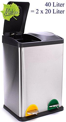 *40 L Edelstahl Tret-Abfalleimer 2×20 L Mülleimer 2-fach Mülltrennung 2er Müll-trennsystem 40 Liter Abfallsammler Treteimer original Made for us*
