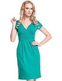 Glamour Empire Mujeres Corto Manga Jersey Lápiz Casual Vestido 573 (Verde Azulado, EU 40, L)