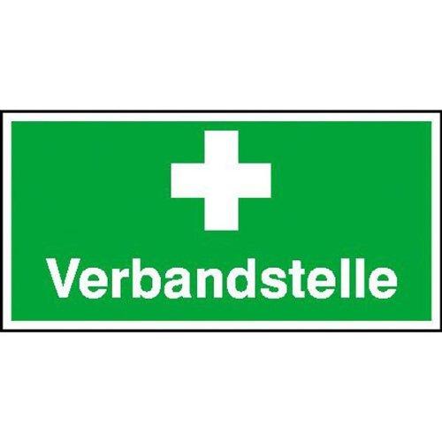 Inter Flower - Rettungszeichen VERBANDSTELLE - Warnschild - Erste Hilfe - 10 x 25 cm - PVC/Plastik - grün - Arbeitsschutz - Warnzeichen Kunststoffschild - Arbeitsplatz - Betrieb - Schutz