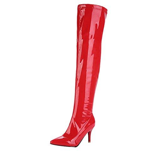 UH Damen Lack Overknee Stiefel Stiletto High Heels Boots mit Spitz Elegante Fashion Schuhe (Overknee Boot Stiletto)