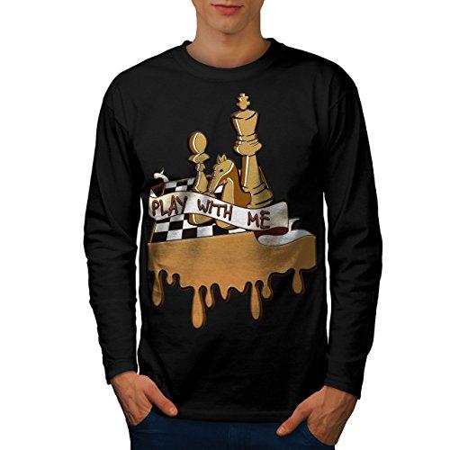 Spielen Schach Mit Mich Spiel Tafel Herren L Langarm-T-Shirt | Wellcoda