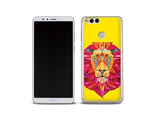 etuo Huawei Honor 7X Handyhülle Schutzhülle Etui Hülle Case Cover Tasche für Handy Fantastic Case - Geometrischer Löwe