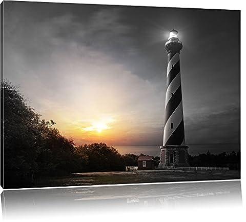 Cape Hatteras Leuchttum B&W Detail, Format: 100x70 auf Leinwand, XXL riesige Bilder fertig gerahmt mit Keilrahmen, Kunstdruck auf Wandbild mit Rahmen, günstiger als Gemälde oder Ölbild, kein Poster oder Plakat