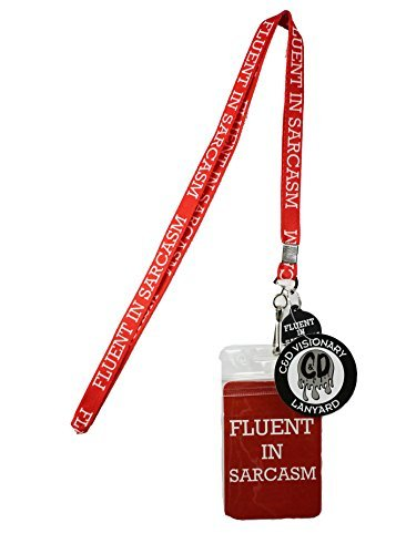 Lanyard with Charm Fluent Sarcasm Skinny Lanyard with Rubber Charm by Lanyard with Charm