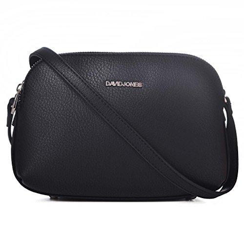 Mittelgroße Umhängetasche Viele Taschen - Satteltasche Schultertasche - Basic Frauen Leder Reißverschluss Handtasche - Multi Pocket Tasche Einfach Klassisch Messenger - Schwarz ()