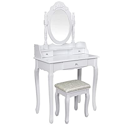 Songmics white 3 drawers Dressing Table Set with 1 adjustable mirror and 1 free upholstered stool 3D floral deco for bedroom RDT75W - low-cost UK dressing table store.