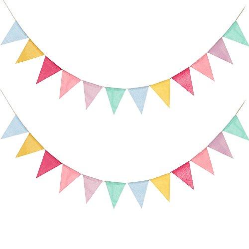Mehrfarbig Wimpel Banner 2 x 12 Pcs Dreieck Flaggen mit 4 m Schnur Verzierung Zubehör für Bar Schule Geburtstag Weihnachten Hochzeit