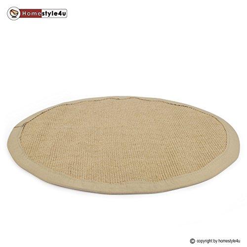 fu matte braun Homestyle4u Sisal Teppich Bordürenteppich Teppich Sisalteppich Naturfaser Natur 180 cm rund