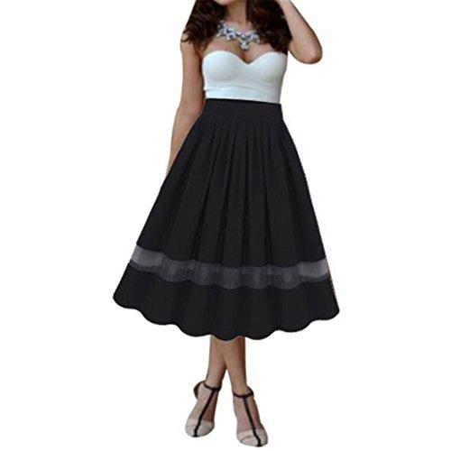 Sannysis Damen Mädchen Stretch Hoch Lange Maxi Rock Kleid (Schwarz, Freie Größe)