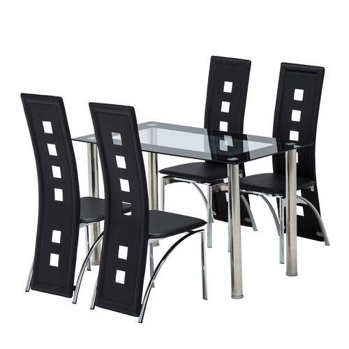 BOJU Kitchen Dining Table and 4 Chairs Set Glass Dining Rectangle Table Black Faux Leather Chairs Home Dining Room Furniture (1 table 4 chairs)