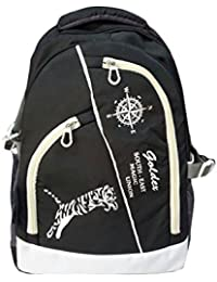 Goldex Polyester College School Backpack (Black & White)