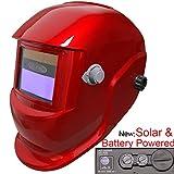 Leopard LEO-WH86 Funciona con Energía Solar + Oscurecimiento Automático + Función De Rectificado + 9-13 Sombra Máscara De Casco De Soldadura con 5 Lentes De Repuesto Gratis   Rojo