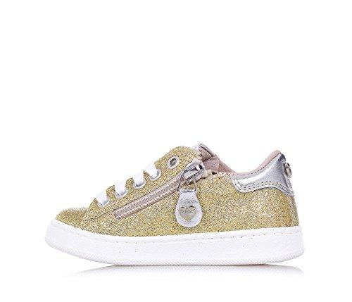 TWIN-SET – Goldener Schuh mit Schnürsenkeln aus Glitzern und Leder, phantasievoll und modisch, seitlich ein Reißverschluss, Mädchen - 5