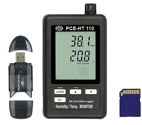 PCE Instruments PCE-HT110 Temperatur- Feuchtelogger / Datenlogger / Feuchtemesser / Temperaturmessgeräte / Feuchtemessgerät zur Langzeitmessung der Temperatur und relativen Feuchte…