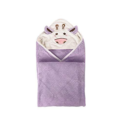 Baby Badetuch,100% Baumwolle Karikatur Kleine Kuh Baby Mantel Mit Kapuze Handtuch Ultra weich Badetuch(Lila)