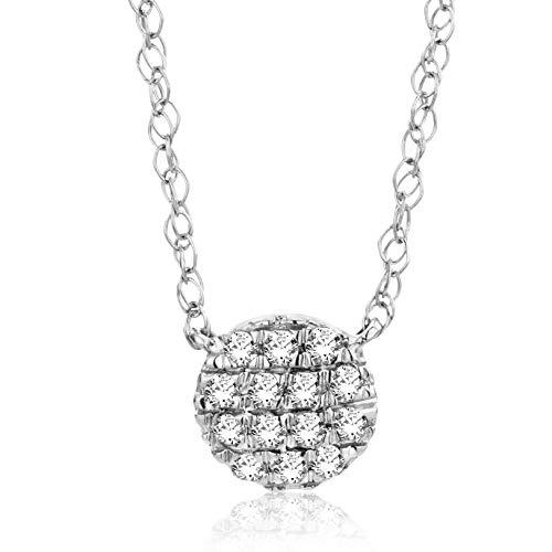 Orovi Collana - Pendente - Ciondolo Donna Pavè di Diamanti con Catena in Oro Bianco con Diamanti Taglio Brillante Ct 0.06 Oro 18 kt /750 Catenina Cm 45