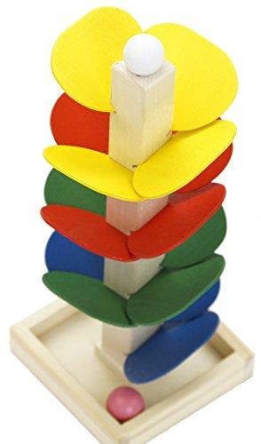 Montessori Material Kugelbahn Turm zum Stapeln & Stecken Holz Blättchen ab 3 Jahre Motorik Entwicklung der Kinder Bunt