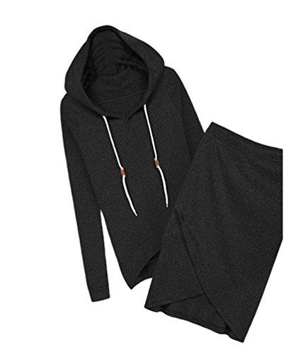 YiLianDa Sport Jumpsuit Damen Sport Pullover Set Beiläufig 2 Stück High Waist Oberteil Kurze Rock Schwarz L