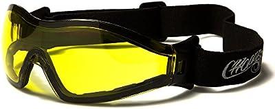 Choppers Máscara y Gafas de Sol Esquí - Snowboard - Ciclismo - Mtb - Sendero - Moto - Kitesurf / Mod Custom Negro Amarillo Transparente