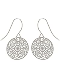 96fd6fc46af76f Tata Gisèle Orecchini pendenti fantasia in metallo argento – Disco  arabesque rosone ...
