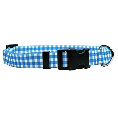 bleu vichy Polyester Collier de chien   Yellow Dog Design - Mini : 20 - 30 cm