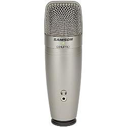 Samson C01U Pro - Micrófono de condensador (USB, 16-bit, 44.1/48 kHz, Plug-and-Play), color plateado