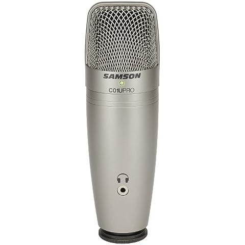 Samson C01U Pro - Micrófono de condensador gran diafragma para grabación, color plateado