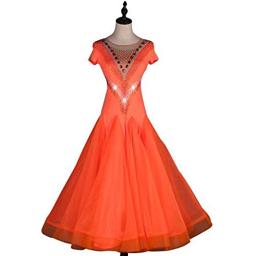 JTSYUXN Gesellschaftstanz Kleid Kurzarm Walzer Leistungstanz Kostüme, Modern Dance Wettbewerbskleid Hochwertigen Kristall/Strass Wunderschöne Schillernde Bühnenkostüm (Color : Orange, Size : XL) (Moderne Ethnischen Kostüm)