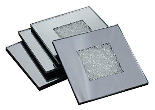 Set 4Glas Untersetzer Getränke Matte-Diamant Kristall Crush verspiegelt-10x 10cm -