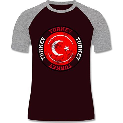 EM 2016 - Frankreich - Turkey Kreis & Fußball Vintage - zweifarbiges Baseballshirt für Männer Burgundrot/Grau meliert