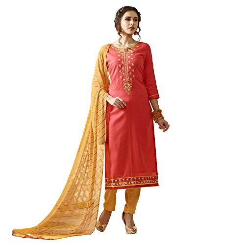 Kvsfab Women's Yellow & Orange Colour Cotton Un Stitched Dress Material [KVSSK10081AND_3]