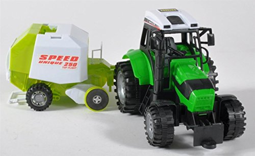 Traktor m. Rundballenpresse PVC Box ca. 55x15x16 cm (Traktor-boxen)