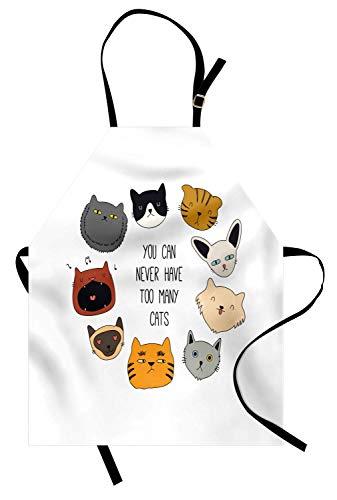 Katzen-Schürze, können Sie nie zu viele Zitat-Schnurrhaare haben, die Rolling Eyes glückliche mürrische Tiere, Unisexküchen-Schürze mit justierbarem Hals für das Kochen backen Gartenarbeit, mehrfarbig