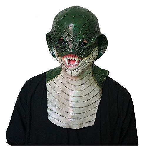 YaPin Horror Monster Dinosaurier Teufel Maske realistische Schlange Teufel Eidechse Kopfbedeckung Halloween Prom Bar Funny COS