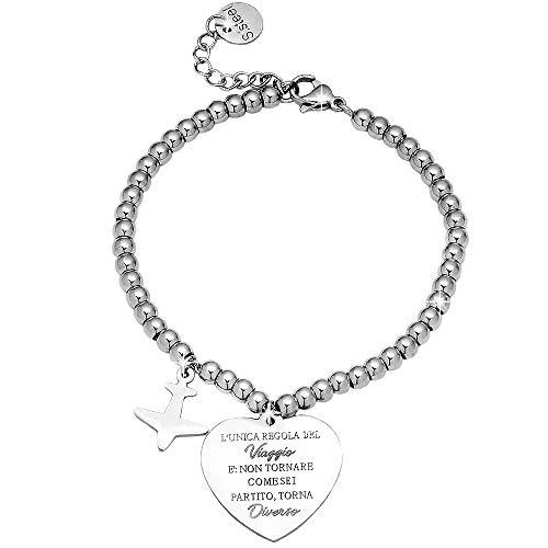 Beloved ❤️ bracciale da donna, braccialetto in acciaio emozionale - frasi, pensieri, parole con charms - ciondolo pendente - misura regolabile - incisione - argento