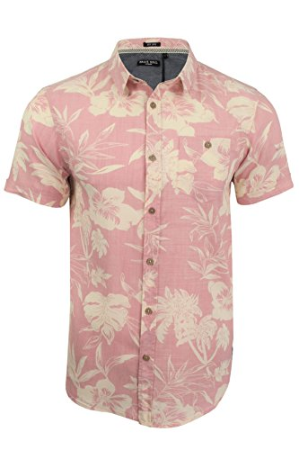 Brave-Soul-Camisa-Casual-Floral-Manga-Corta-Para-Hombre-Coral-Ecru-M