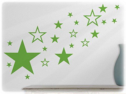 wandfabrik - Wandtattoo - 82 hochwertige Sterne in lindgrün