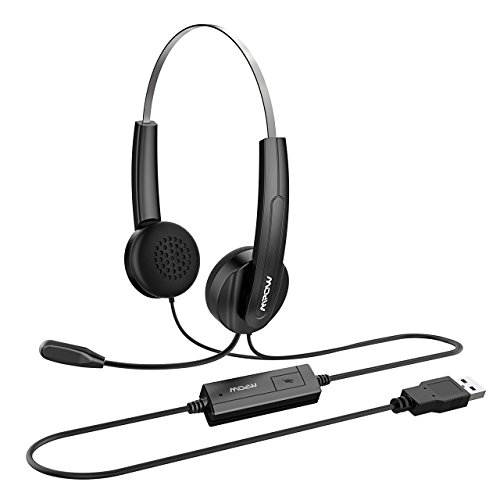 Mikrofon, leichte PC Headset, Freisprech Kabelgebundene Kopfhörer mit Noise-Cancelling-Mikrofon,Lautstärkeregler, Business Headset für Skype, Call Center, Präsentation (Kabelgebunden-center-lautsprecher)