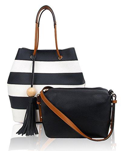 Swankyswans Damen Lola Stripe 2 in 1 Tote Bag, 12x33x24 centimeters Schwarz (Black)